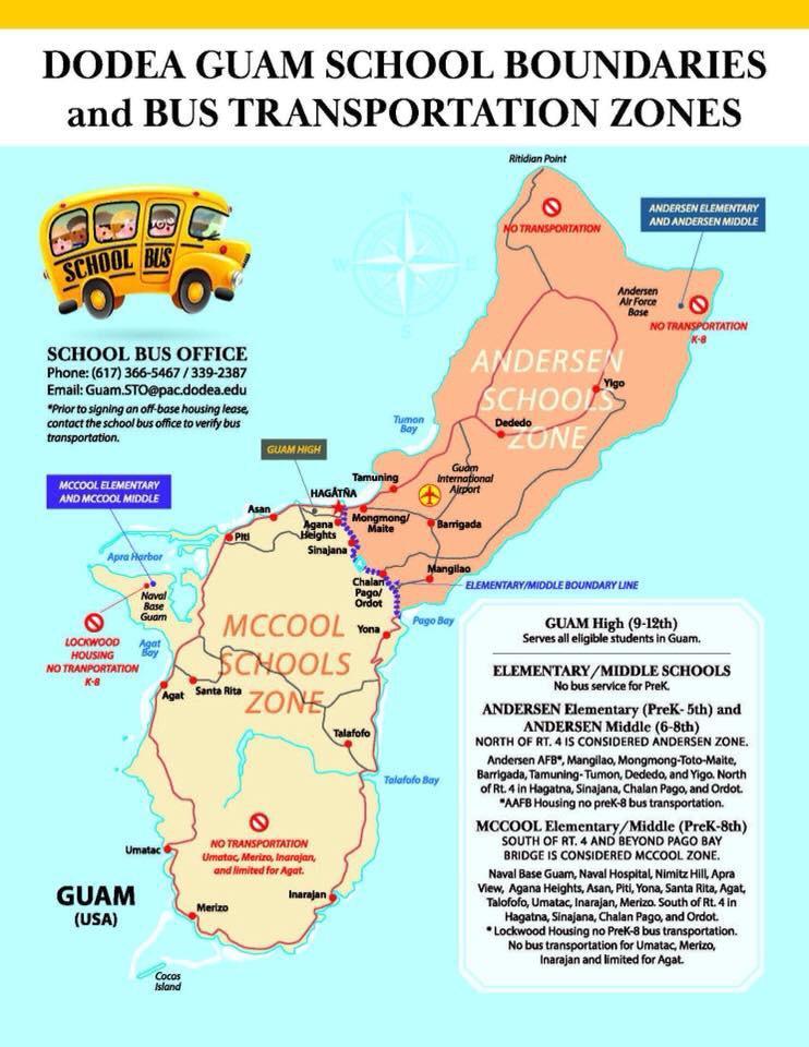 DODEA GUAM SCHOOL BOUNDARIES and BUS TRANSPORTATION ZONES